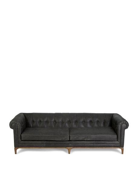 Caprice Tufted Leather Sofa 95\