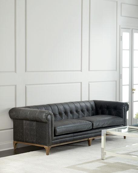 "Caprice Tufted Leather Sofa 95"""