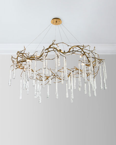 Brass and Glass Teardrop Chandelier