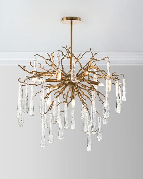 - John-Richard Collection Brass And Glass Teardrop 7-Light Chandelier