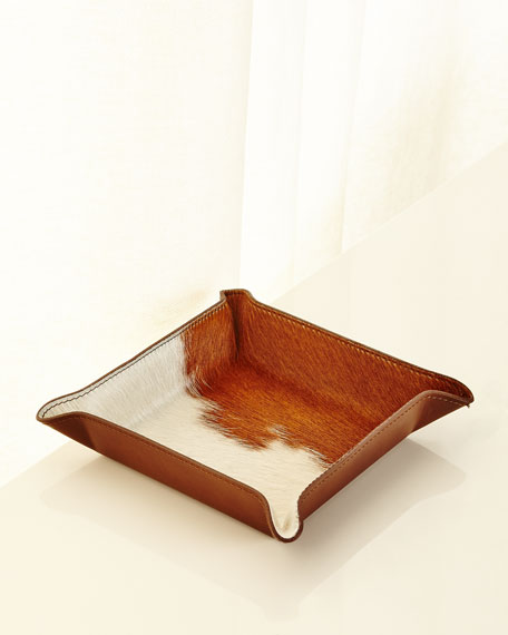 Calf Hair Valet Tray, White/Brown
