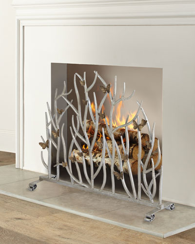 Twig Fireplace Screen with Golden Butterflies