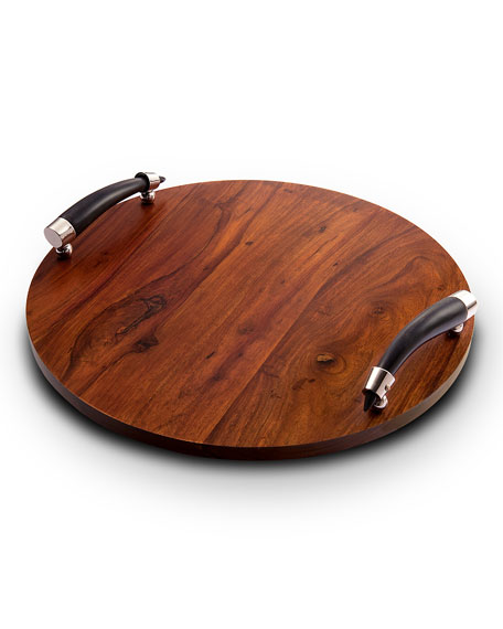 e7e3bae6547c0 Orion Round Wood Tray with Horn Handles