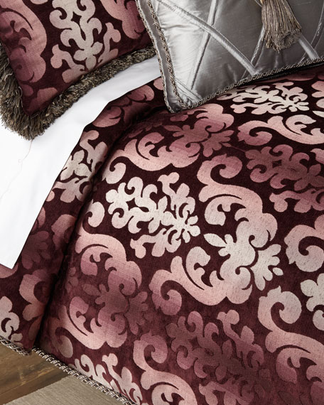 Sweet Dreams Aubergine Damask King Duvet