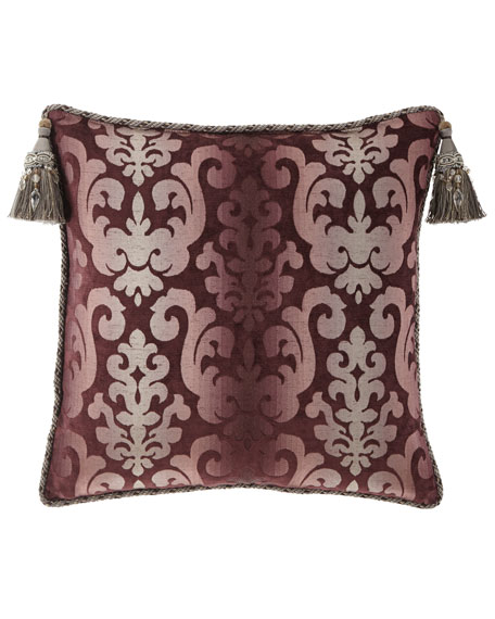Aubergine European Sham with Beaded Tassels