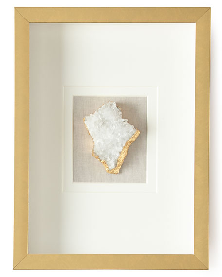 Natural Crystal in Golden Frame, Stormy White