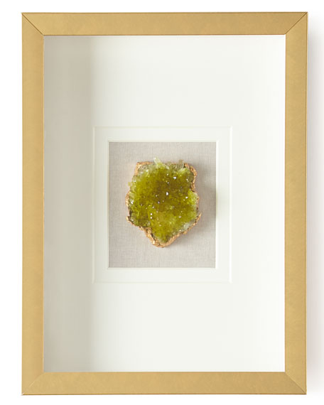 Natural Crystal in Golden Frame, Green