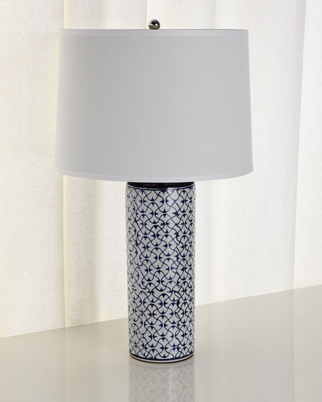 Ceramic Table Lamp, Blue/White