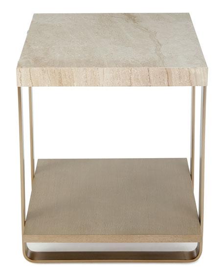 Samer Travertine-Top Side Table