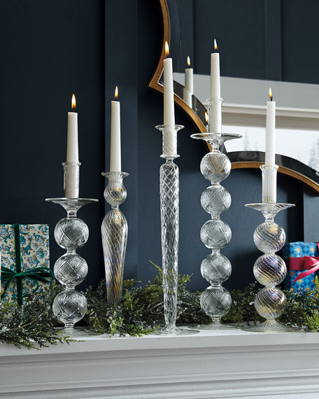 """Glass with Gold Accent Candlestick, 16.5"""""""