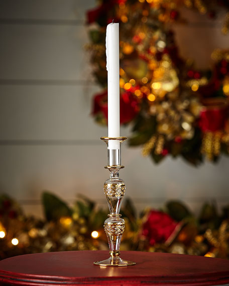 Medium Glass Candlestick Holder with Golden Accents