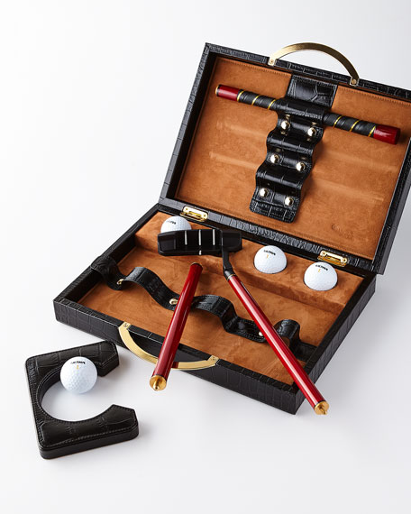 Travel Golf Set with Croc-Embossed Carry Case