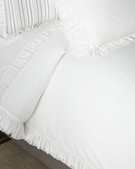 Laundered Ruffle King Duvet Cover, White