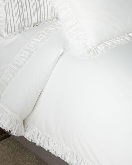 Laundered Ruffle King Duvet Cover, White