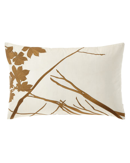 """Leaf Decorative Embroidered Pillow, 14"""" x 22"""""""