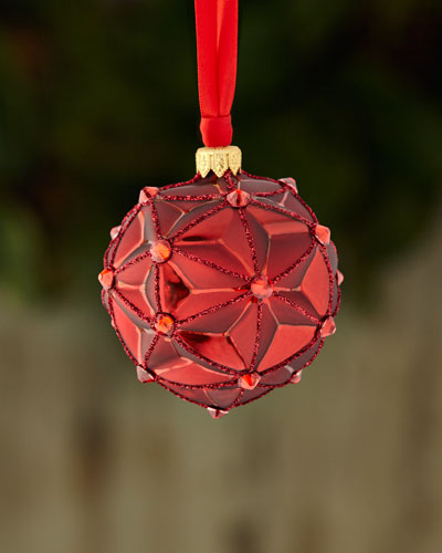 Satin Faceted Ball Ornament with Stones and Glitter