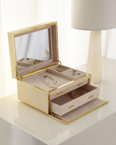 Luxe Faux-Shagreen Jewelry Box  Cream