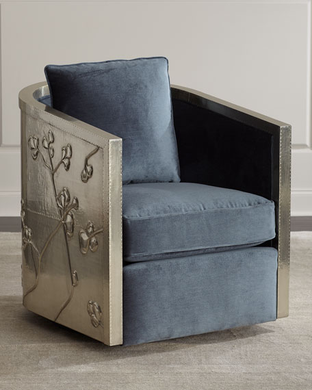 Silver Wrapped Swivel Chair