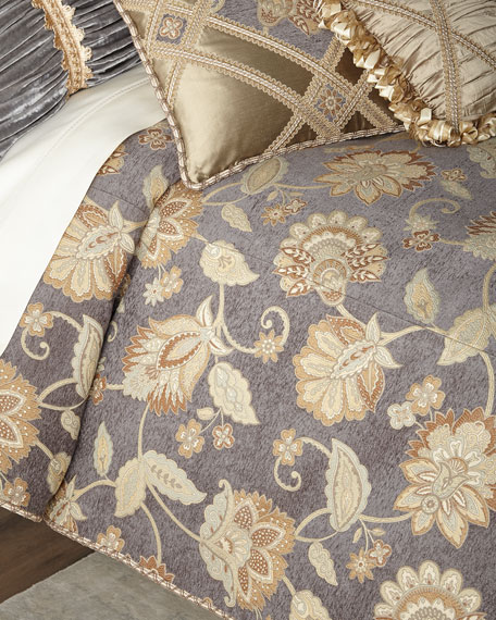 Golden Garden Floral Queen Duvet