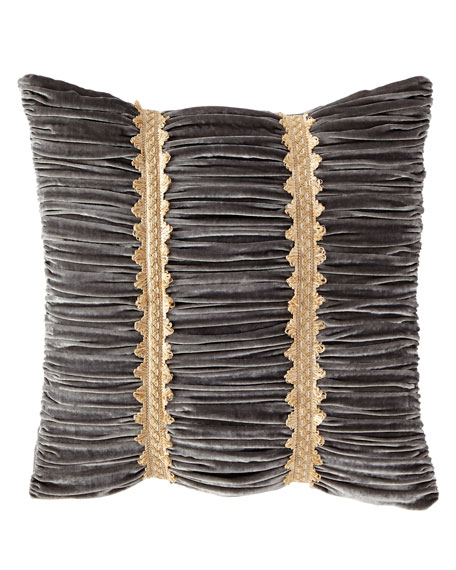 Golden Garden Ruched Velvet European Sham