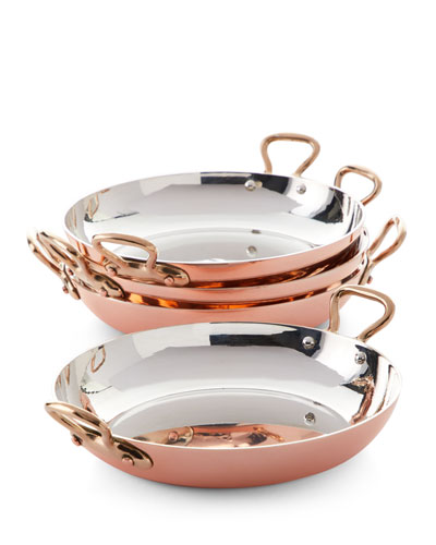 Solid Copper Au Gratin Pans with Silver Lining, Set of 4