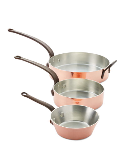 Solid Copper Tin-Lined Pans  Set of 3