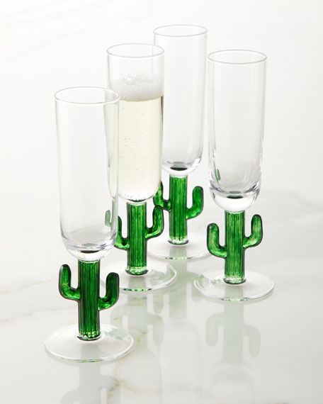 Zodax Cactus Champagne Flutes Set Of 4