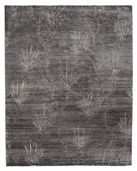 Palm Hand-Knotted Rug, 6' x 9'