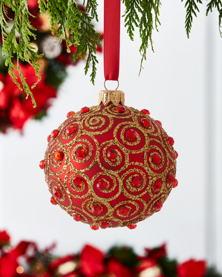 Shiny Ball Ornament with Scroll Gems