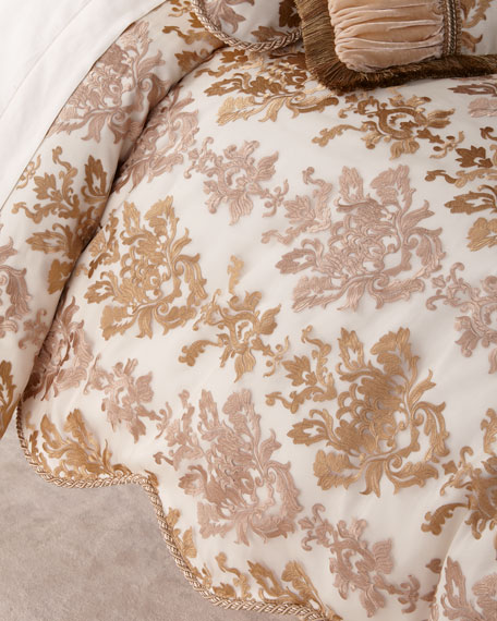 Isadora Embroidered Damask King Duvet