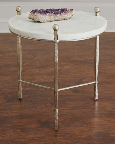 Clarendon Round Stone-Top Side Table