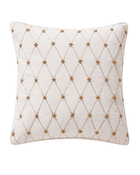 "Annalise Beaded Square Decorative Pillow, 14""Sq."