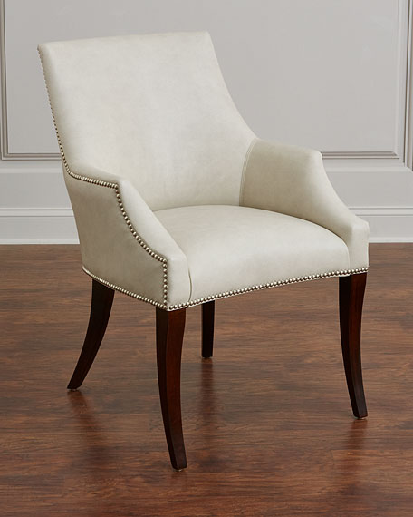 Bernhardt Keeley Ivory Leather Chair