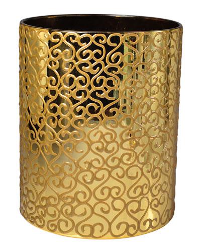 Jamila Glass Wastebasket, Golden