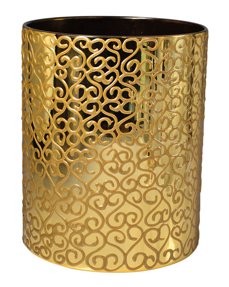 Jamila Glass Wastebasket, Golden