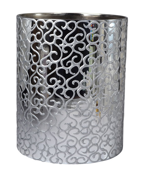 Jamila Glass Wastebasket, Silver