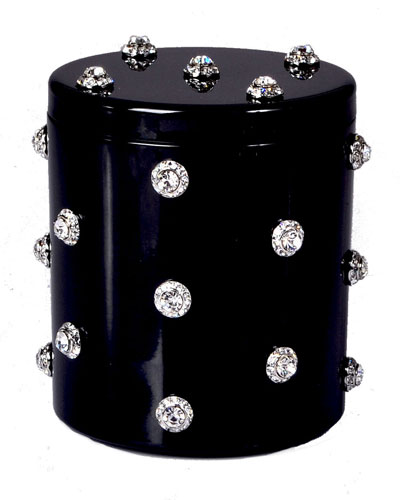 Nova Glass Cotton Swab Jar with Stones, Black