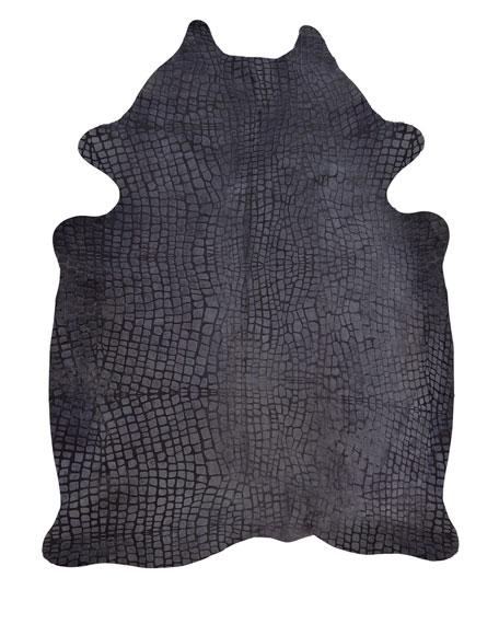 Aretha Croc-Stamped Hairhide Rug, 5' x 7'