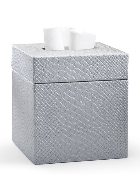 Conda Tissue Box Cover, Silver