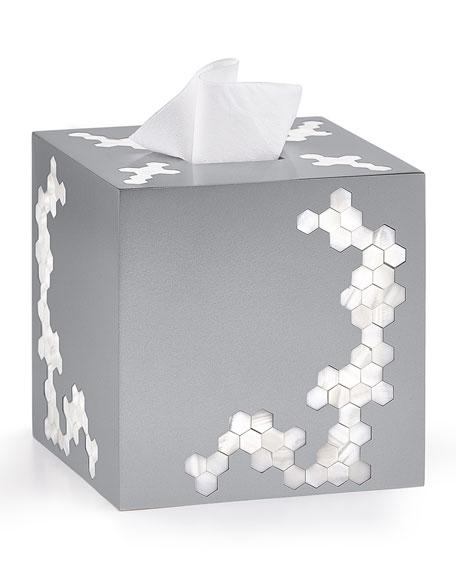 Hex Tissue Box Cover, Silver