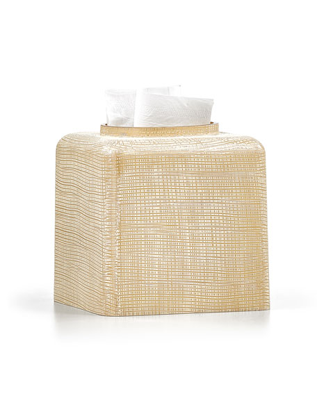 Woven Tissue Box Cover, Gold