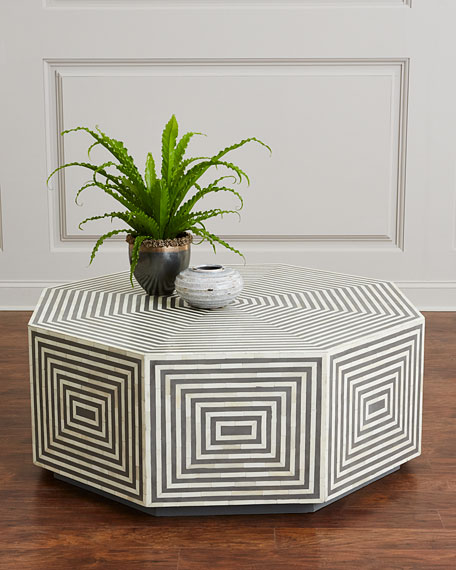 Etonnant Interlude Home Farrah Octagonal Bone Inlay Coffee Table