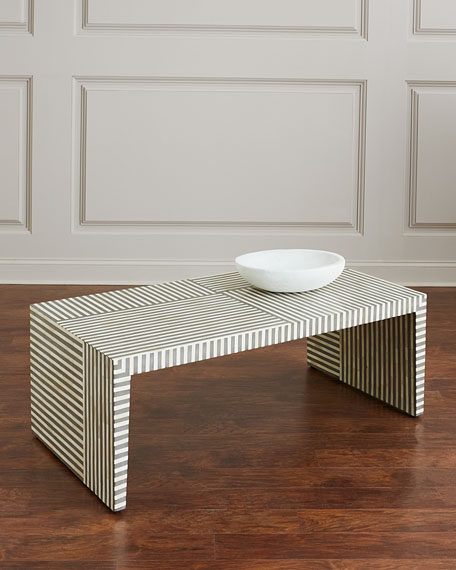 Beau Interlude Home Farrah Rectangle Bone Inlay Coffee Table
