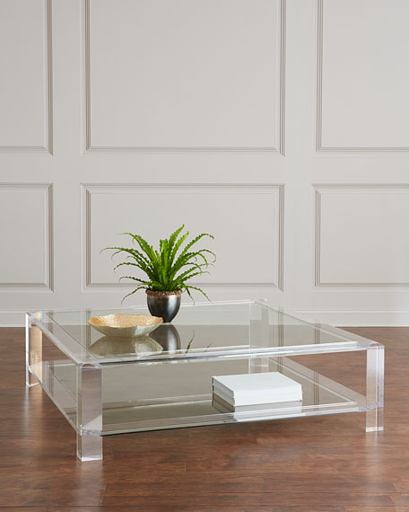 Acrylic Coffee Table Top: Interlude Home Landis Large Acrylic Square Coffee Table