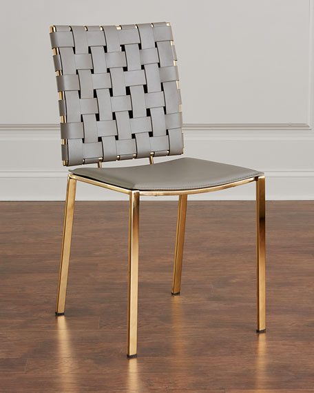 Famous Interlude Home Kennedy Woven Leather Dining Chair HG67