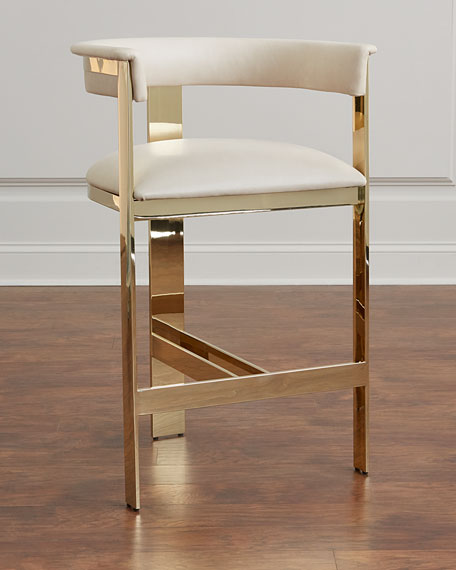 Incroyable Interlude Home Darla Brass And Leather Bar Stool