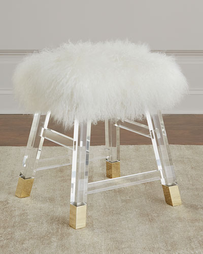 Darnell Acrylic and Sheepskin Stool