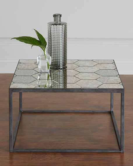 Annalee Antiqued Mirror Bunching Coffee Table
