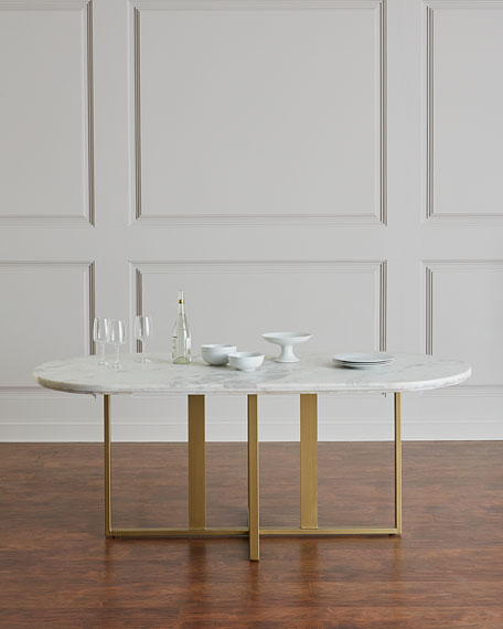Dylia Marble And Brass Oval Dining Table - Oval dinner table