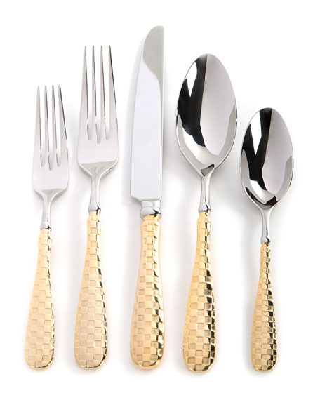 5-Piece Check Gold-Plate Place Setting